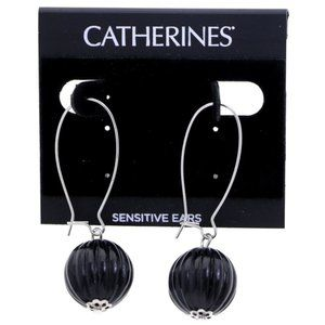3/$20 Catherines silver and black ball earrings